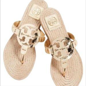 Tory Burch Miller Espadrille Sandal Gold Mirror